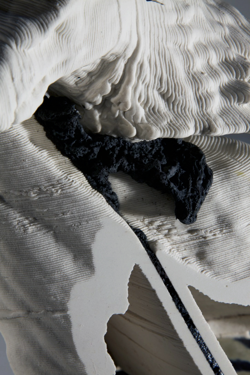 State Actor Detail  2019  3d printed porcelain, steel  16.5in. h x 11in. w x 11in. d