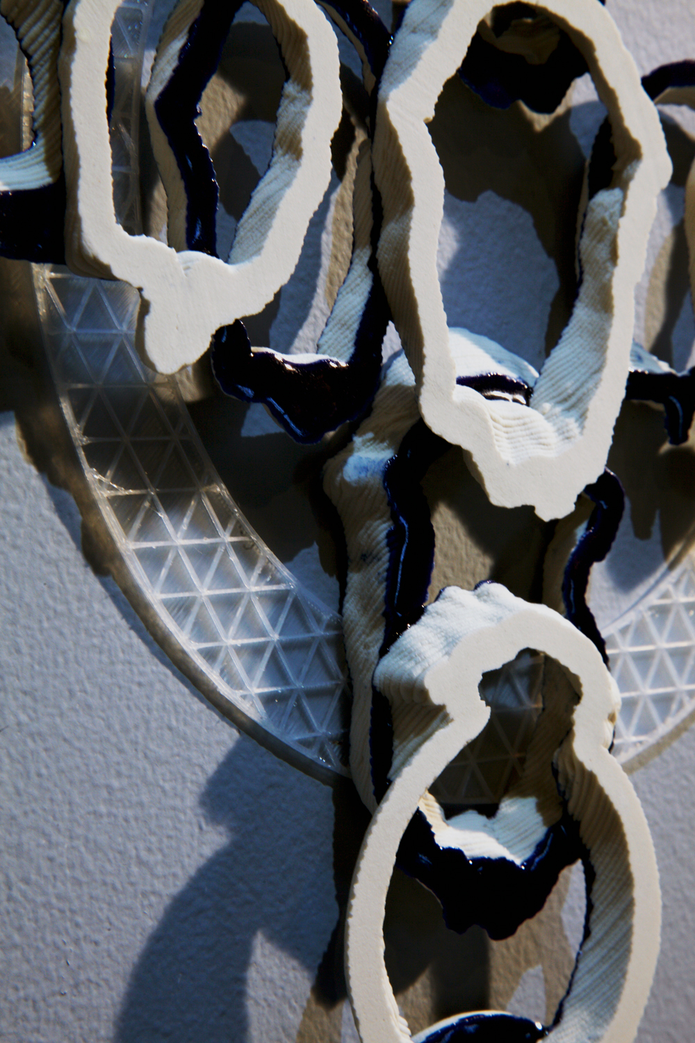 Darwin's Cross Detail  2019  3d printed porcelain and nylon, steel  15in. h x 12in. w x 1in. d