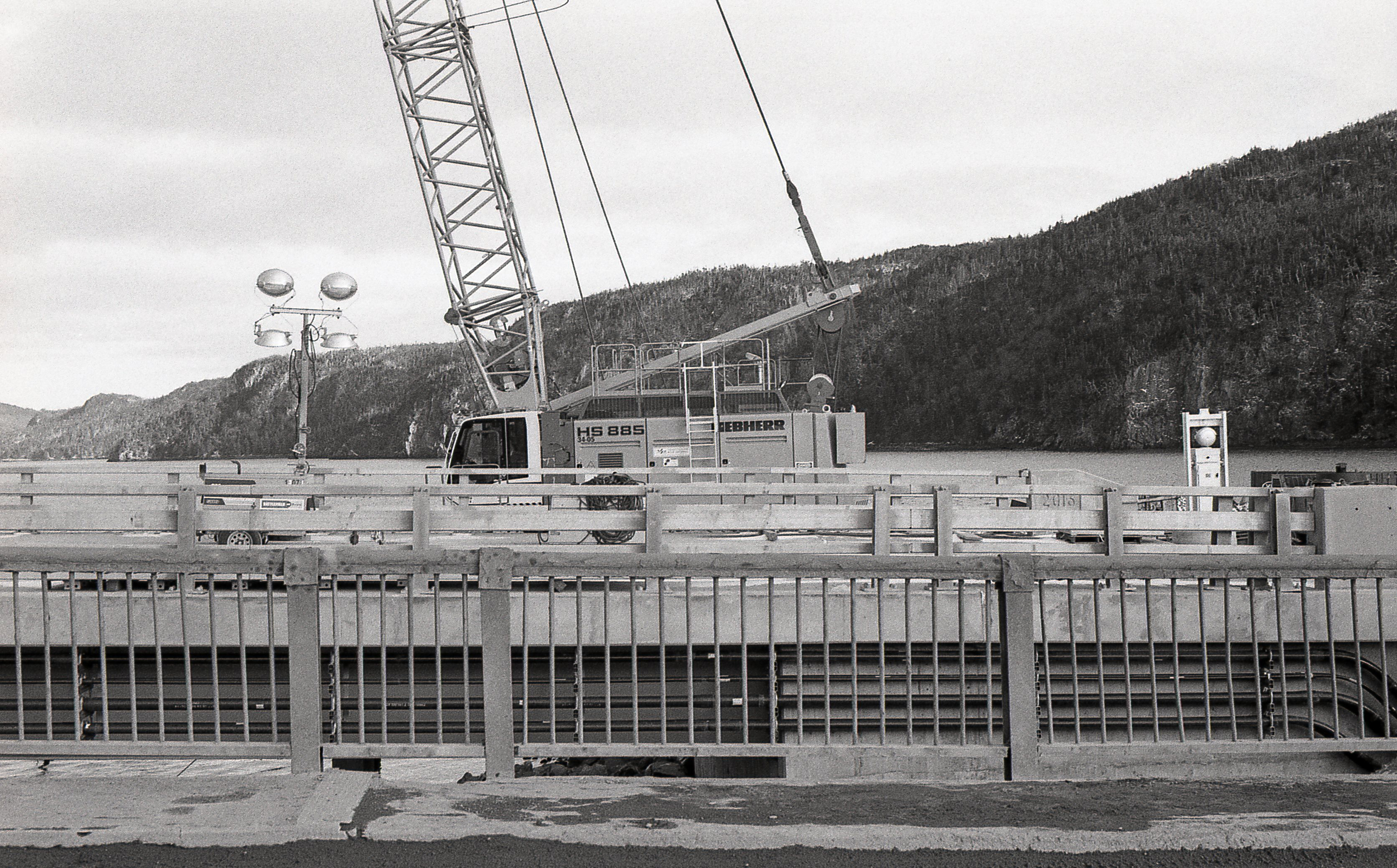 View of the construction of the new bridge taken from the old bridge looking towards the inner harbour.