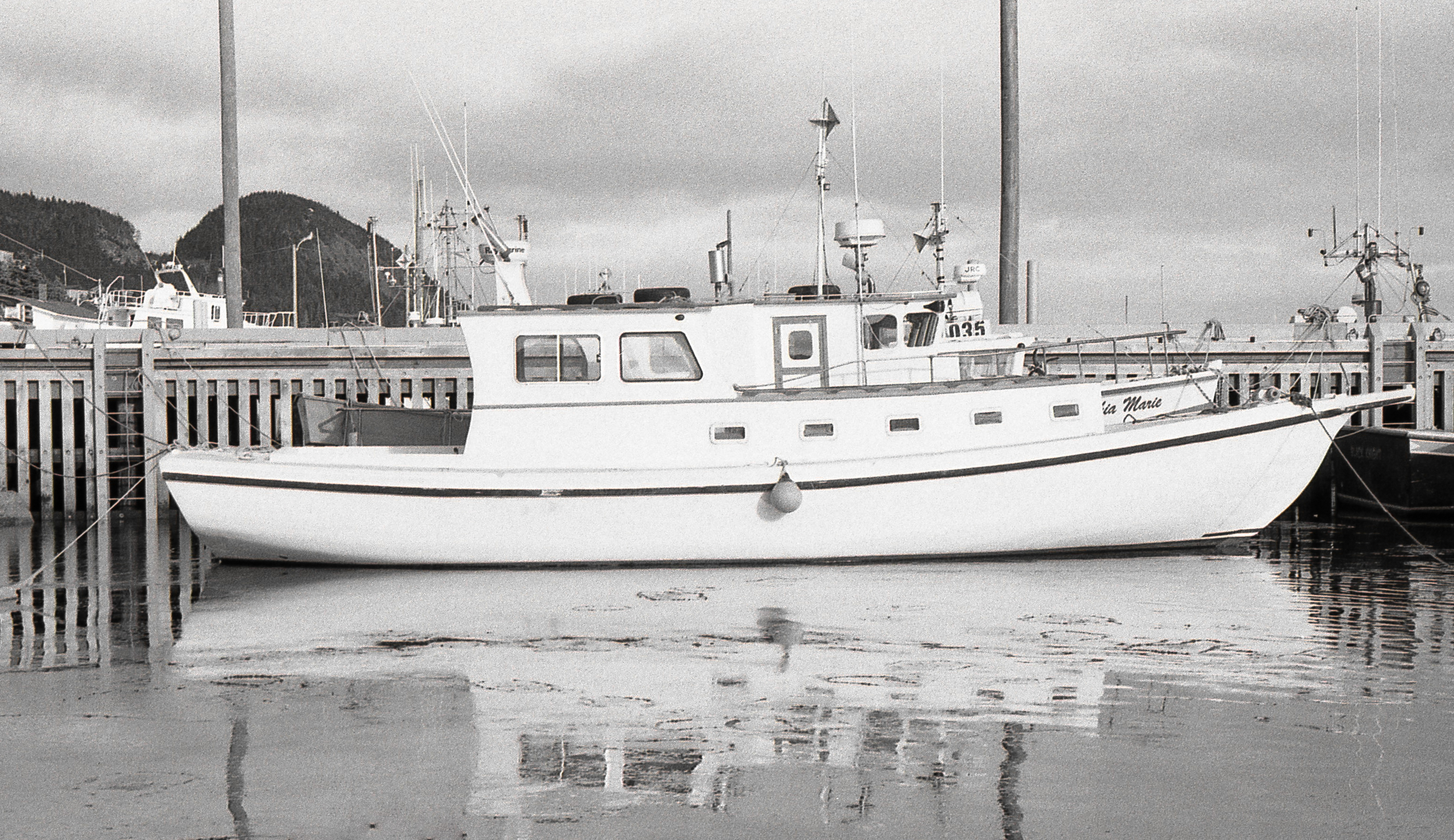 Placentia harbour in early winter. Thin sheets of ice are forming next to the boat.