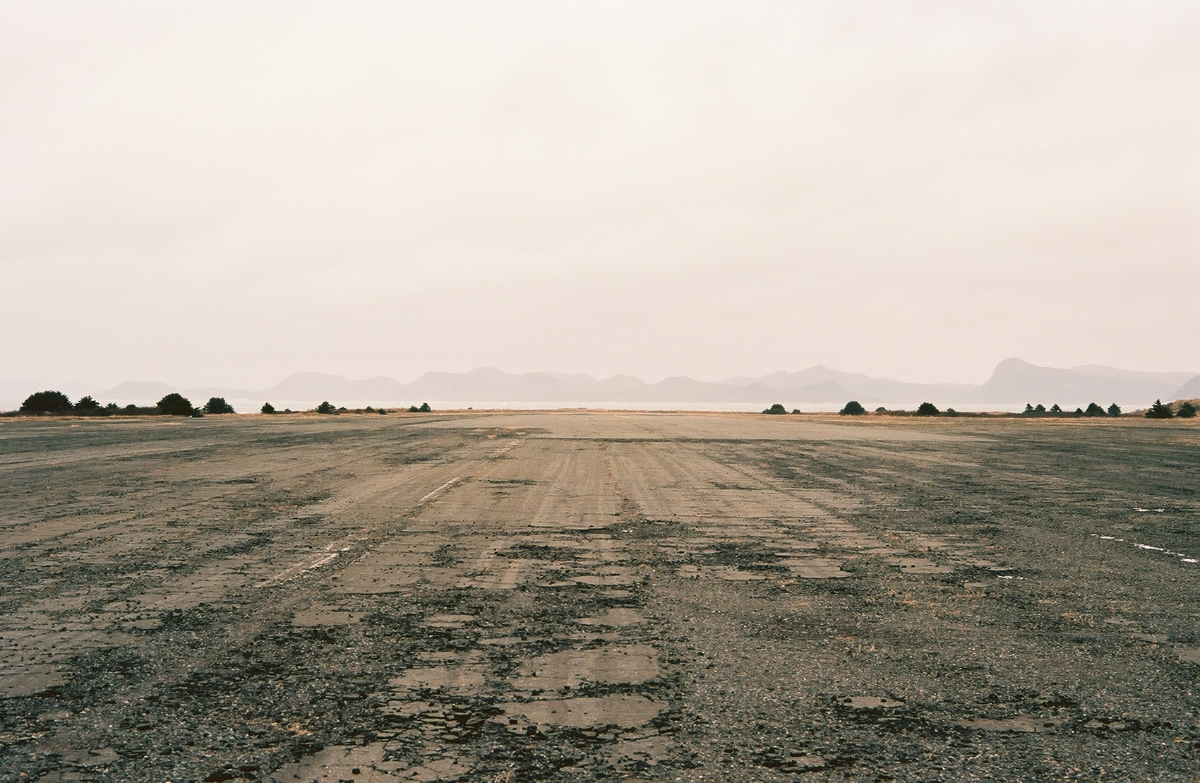 The massive runway complex slowly crumbles