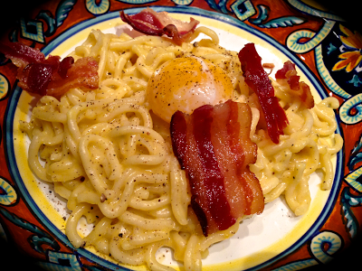 Fresh Extruded Spaghetti Carbonara, Soft Pullet Yolk, La Quercia Tamworth Bacon - It hurts to look.