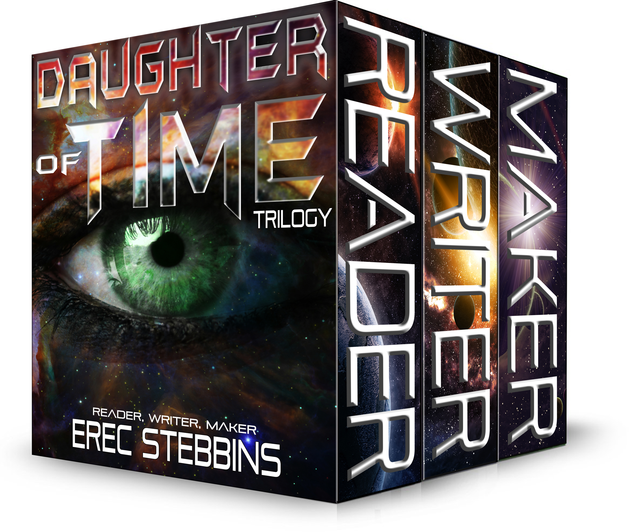 Boxed set representing the combined eBooks of READER, WRITER, and MAKER in the  Daughter of Time series