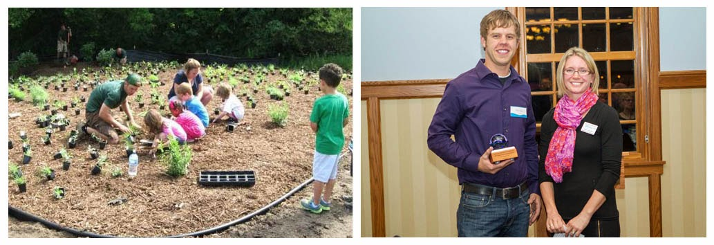 Left: Brian working with students to plant native prairie plants at the Carol Matheys Center for Children & Families in Oakdale.  Right: Brian accepts the  Outstanding Partner Award.