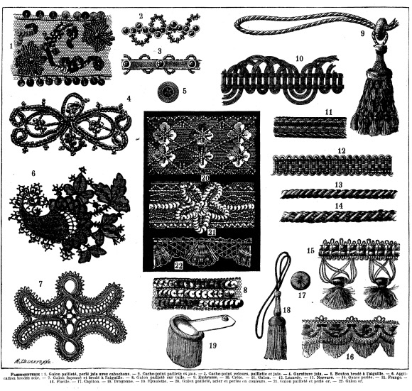 Various forms of illustrated passementerie (above)
