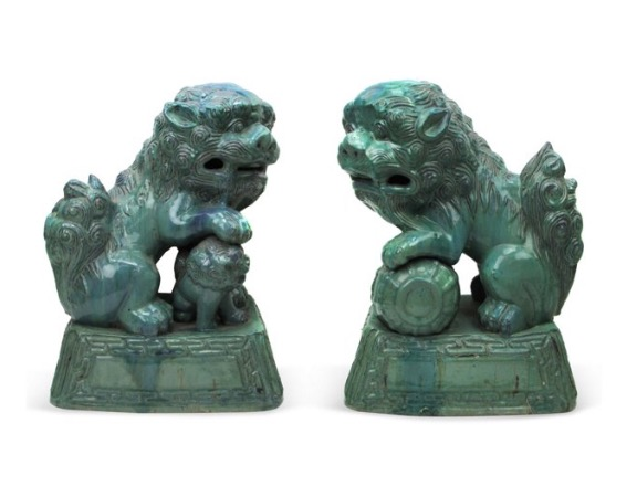 Pair of 19c. emerald glazed Foo Dogs