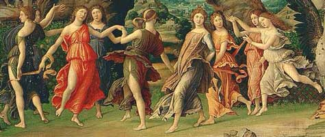Painting of the 9 Greek Muses from Mantega's Parnassus 1497, Louvre, Paris