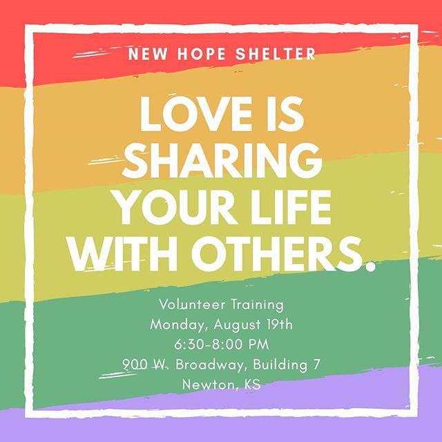 Reminder...Volunteer Training, Monday August 19...6:30-8:00 pm. #newhopeshelterks #newtonkansas #harveycounty #mcphersoncounty #marioncountyks