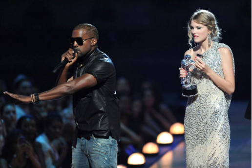 Kanye West manterrupts Taylor Swift at the VMA awards. photo credit: Kevin Mazur/Getty Images.