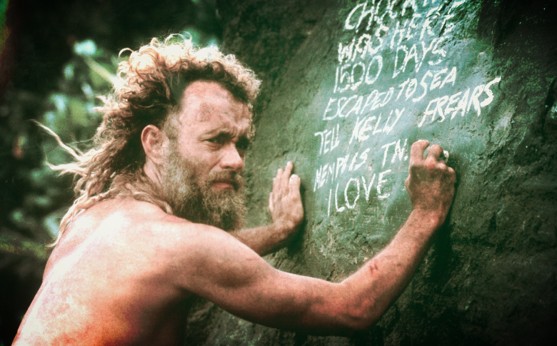 TOM HANKS STRANDED ON AN ISLAND WRITING ON A STONE, IN A NOT TOTALLY SANE PLACE: THIS IS YOU AT THE BEGINNING OF YOUR CAREER.  (CASTAWAY by Robert Zemekis. property of: 20th Century Fox & Dreamworks.