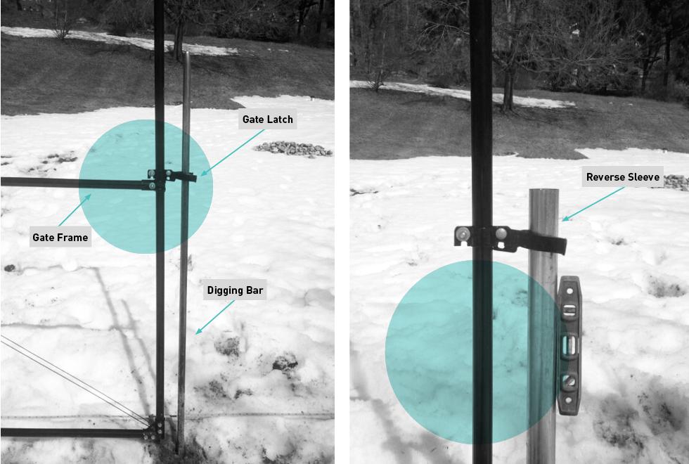 Deer fencing latch gate post installation