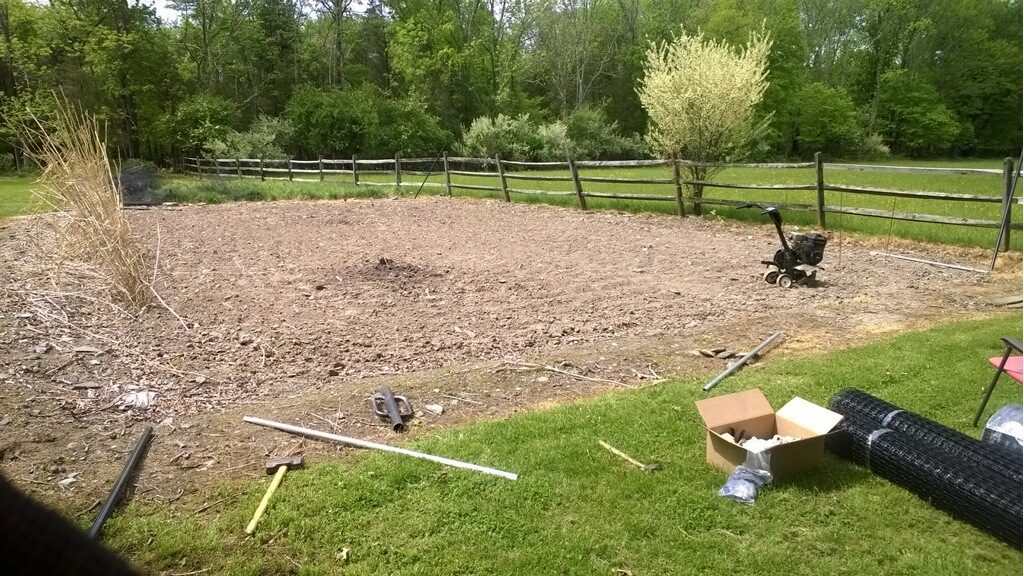 Preparing layout for garden fence in Flemington, New Jersey