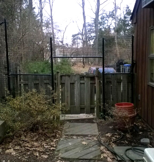 Customized deer fence to work in tandem with wooden fence and access gate.