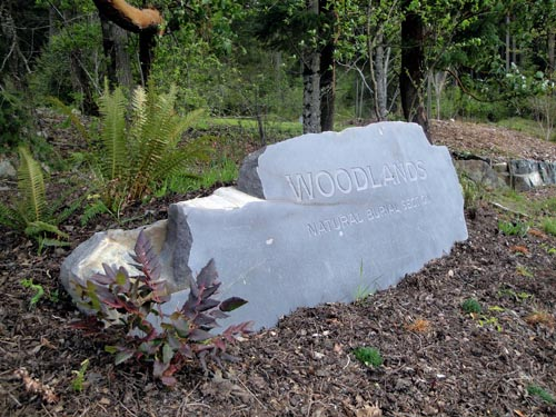 Woodlands entry monument at the Royal Oak Burial Park, Victoria, B.C. IMAGE/ Courtesy of LEES + Associates