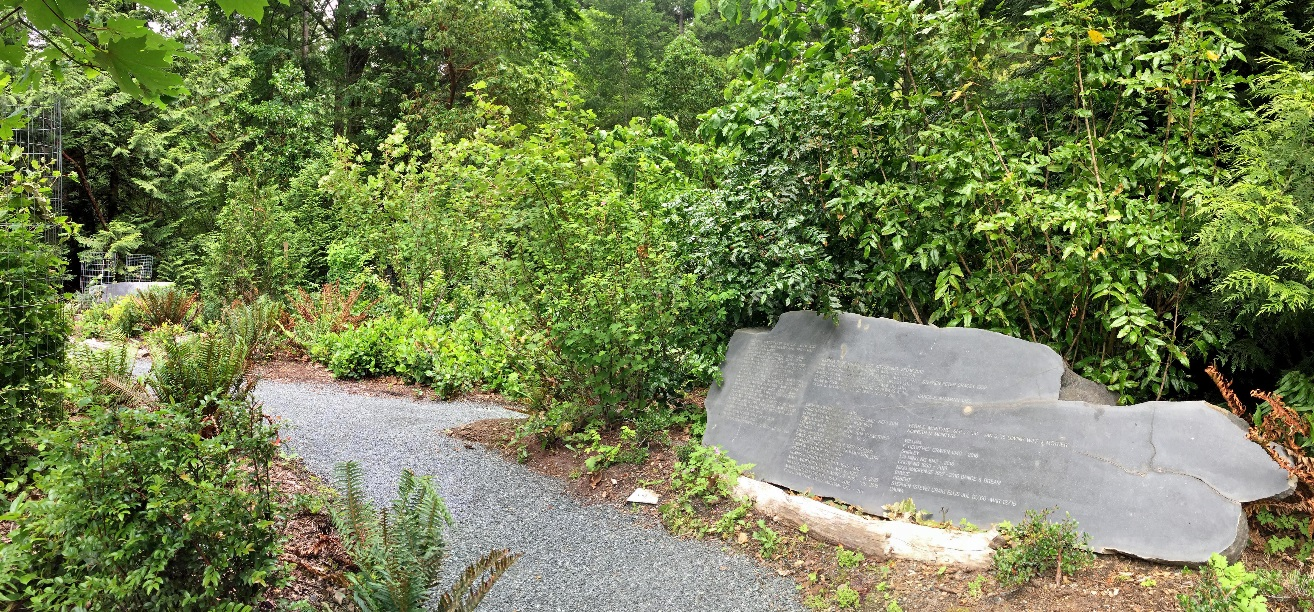 Green burial area with communal headstone  Vancouver Island, BC  Photo: LEES+Associates
