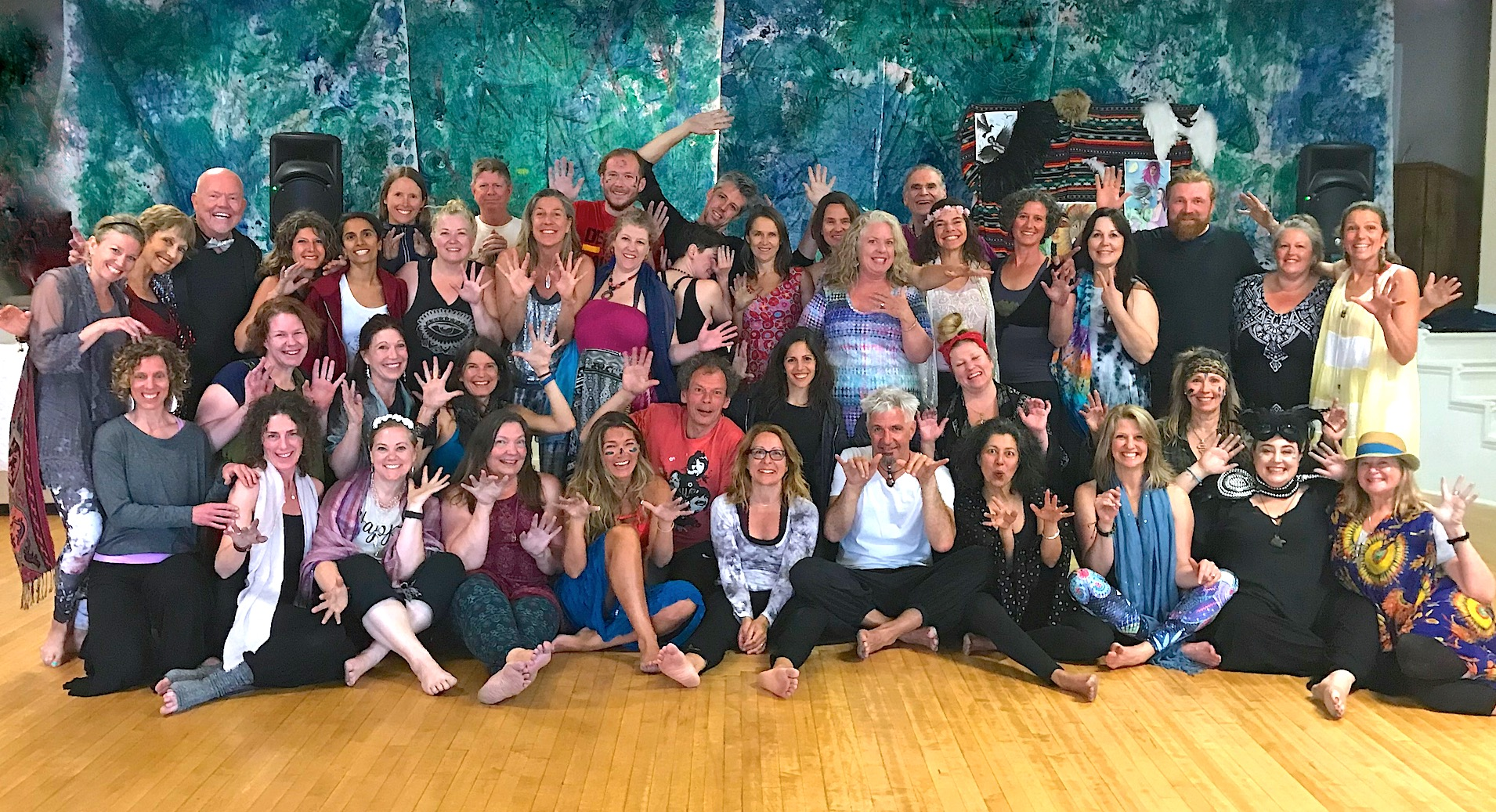 International group of dancing souls