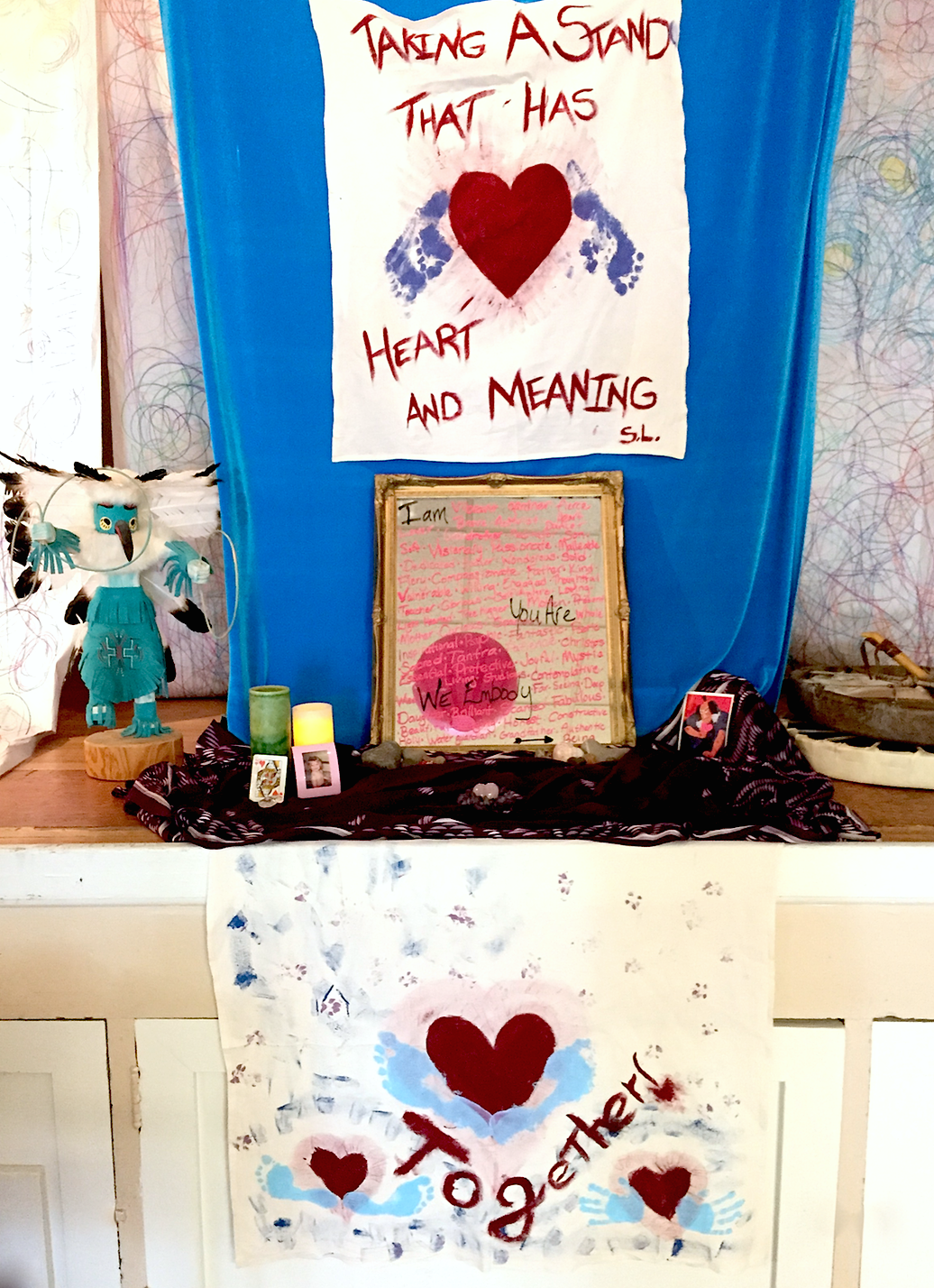 Art installation created by Jennifer Hope and her daughter, Raven, to inspire our exploration of the Heart Warrior/Warrioress archetype.