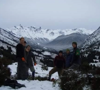 A cold day in Patagonia. Dodzy with some of the original trail crew. May 2009 . photo Jordan 'SG' Phipps