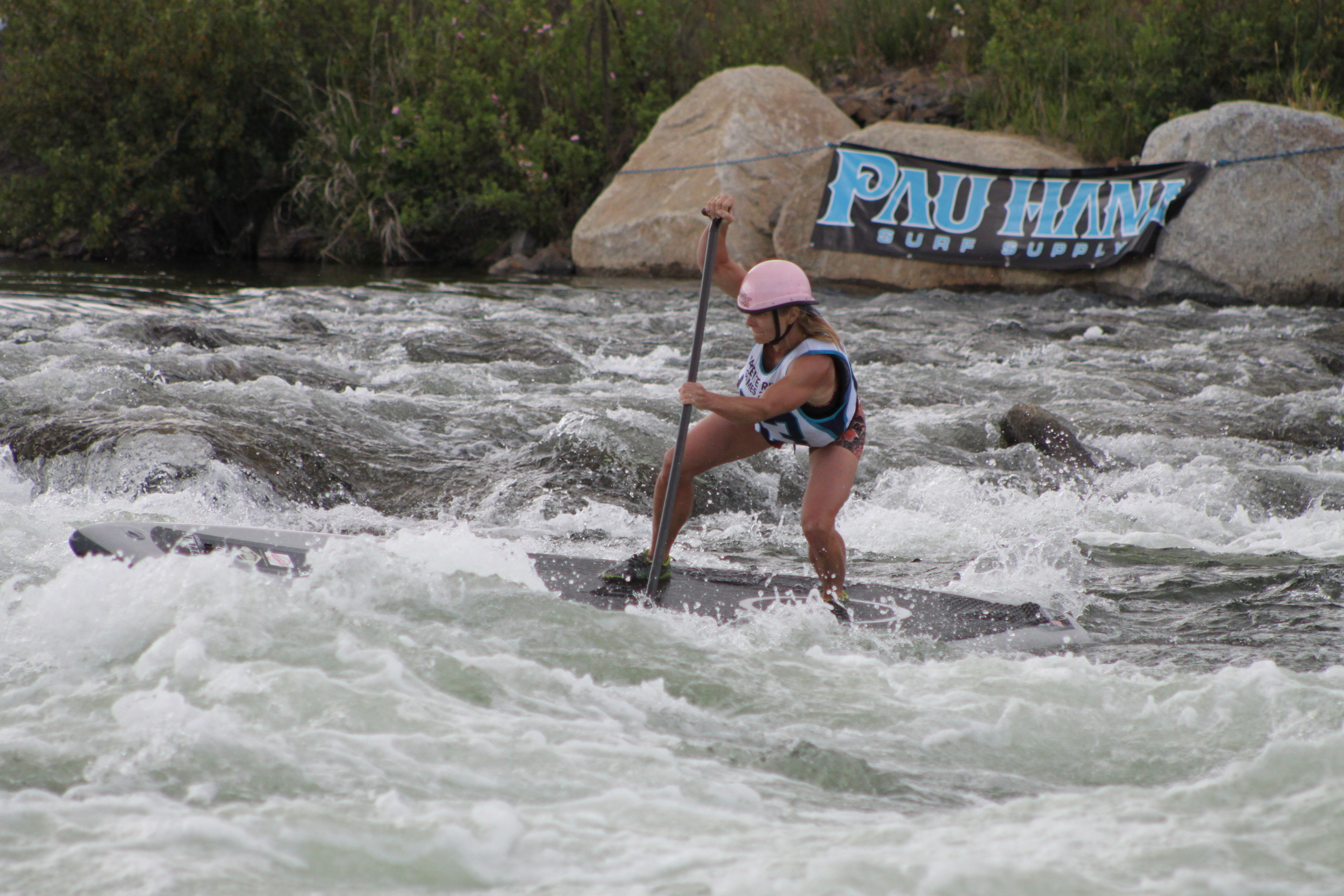 Rebecca Giddens making the crux ferry on her way to becoming the 2015 Women's Payette River Games Champion