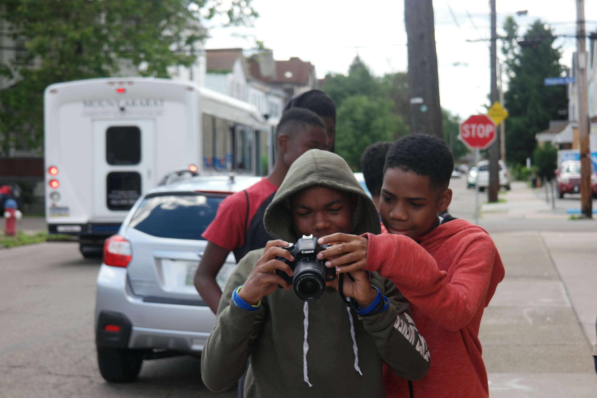 Youth participants learned the fundamentals of photography and practiced using DSLR cameras around the campus of Mount Ararat before employing their skills on the water.