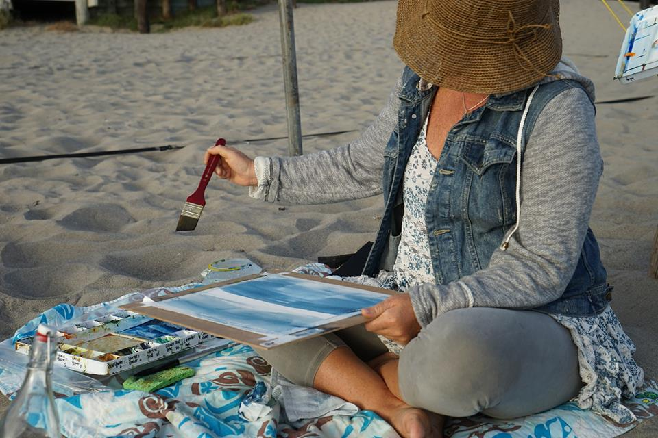 Plein air painting at Stinson Beach, CA