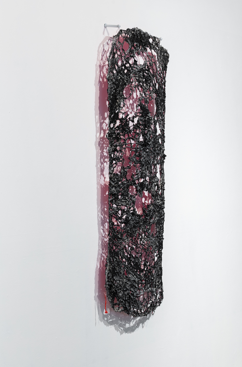"""""""BITCH"""" , knitted wire and yarn, cast in cement, house paint, 4x6'  DETAIL"""