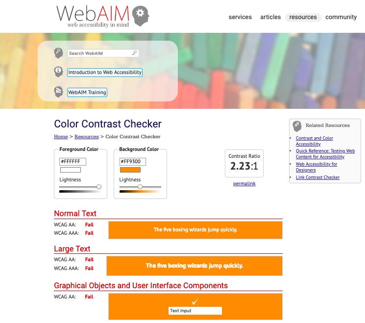 WCAG2  contrast checker  shows failing scores for Audible's brand orange