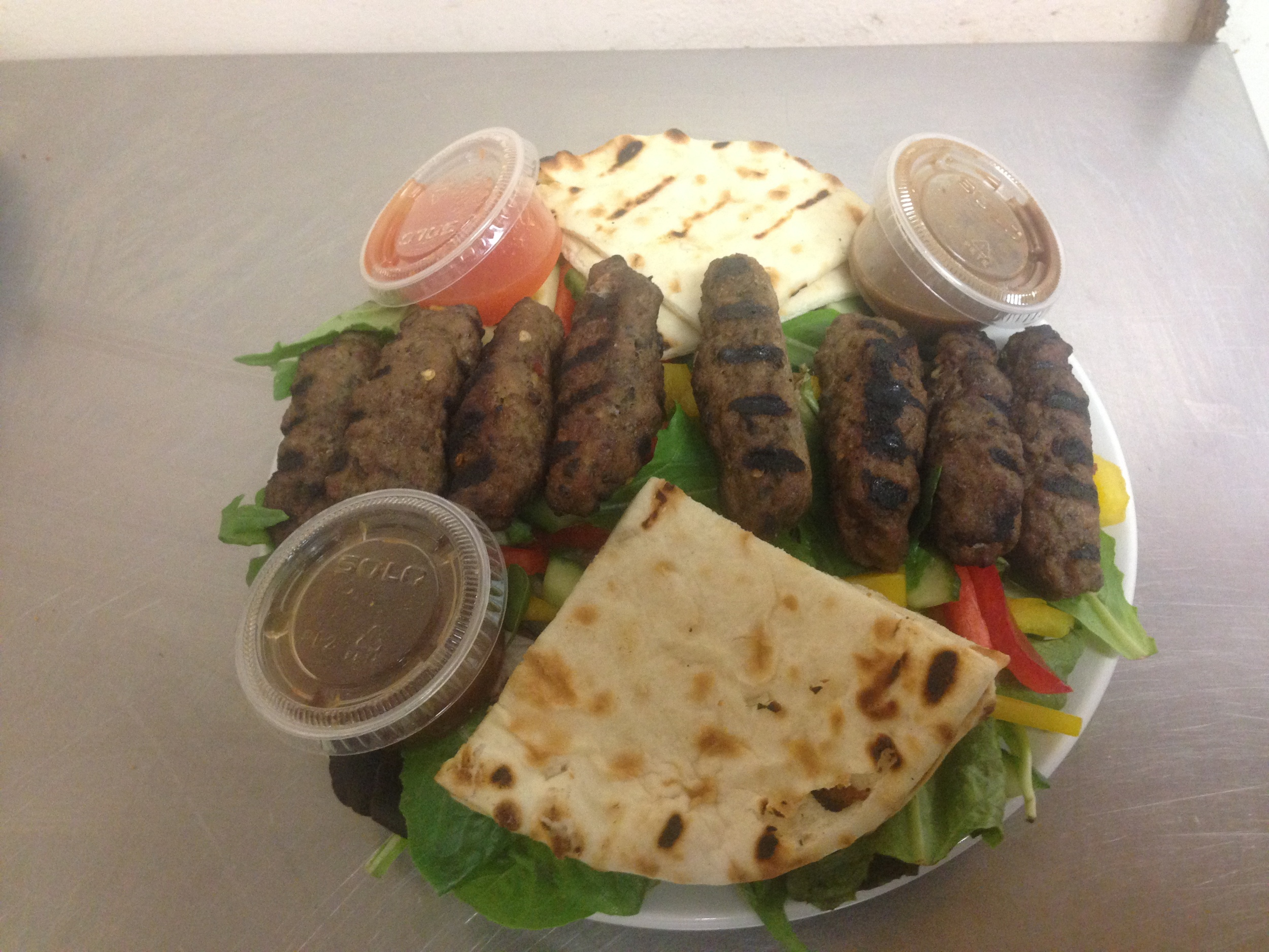Cocktail  Seekh Kebab, naan and Salad 2