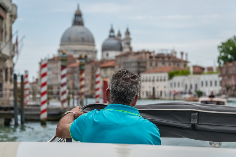Our Water Taxi Driver on the Grand Canal --  Heading to Our Hotel