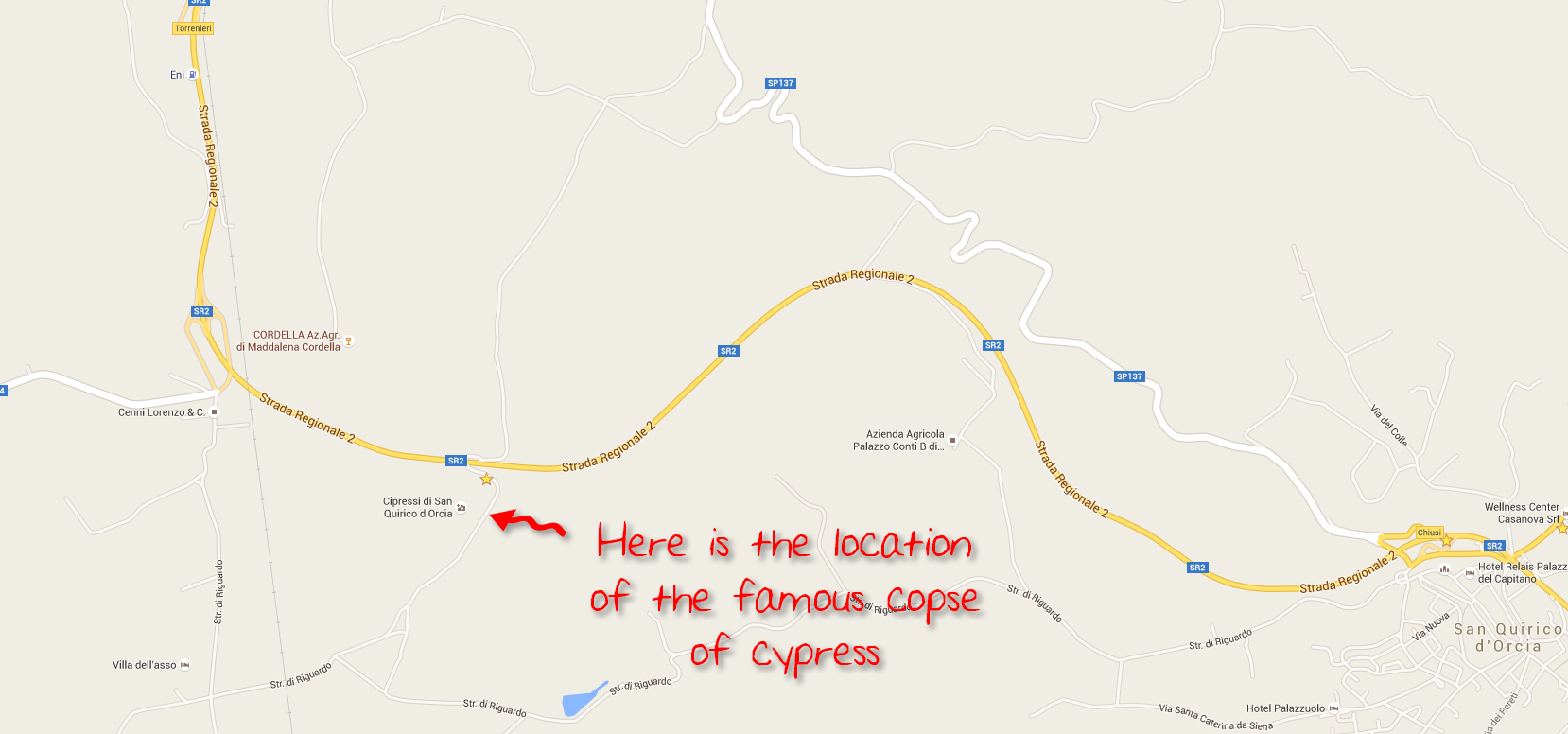Map showing the location of the famous cypress copse