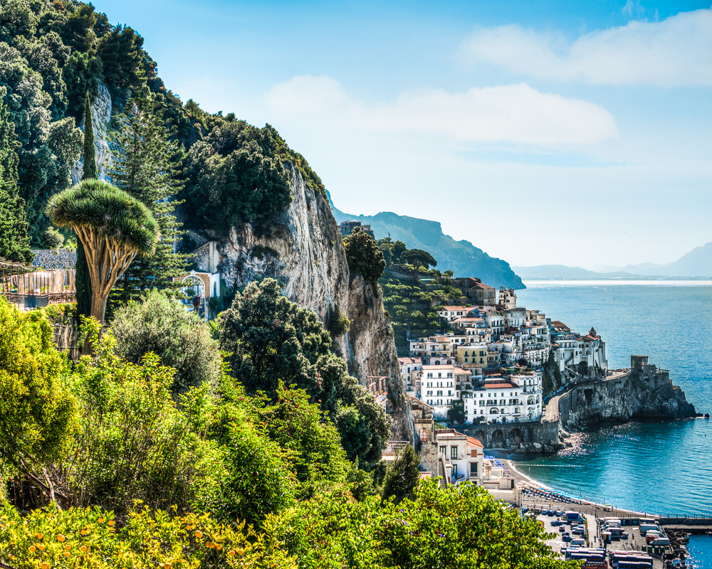 Lush vegetation and Amalfi Town