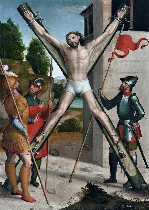 Artist's depiction of Saint Andrew's crucifiction, by  Juan Correa de Vivar