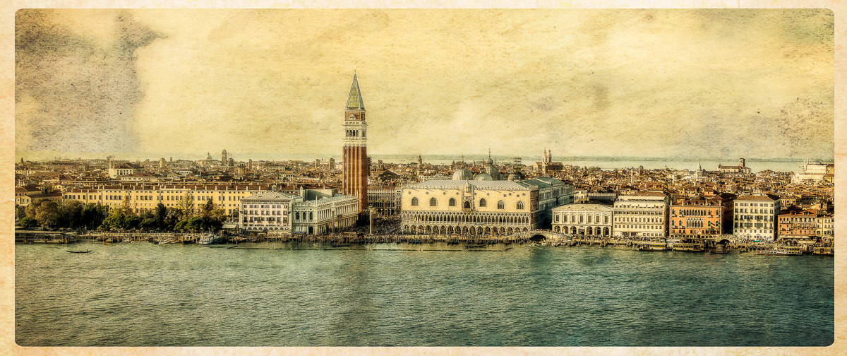 A panorama of a good bit of San Marco, taken from the campanile of the church of San Giorgio Maggiore