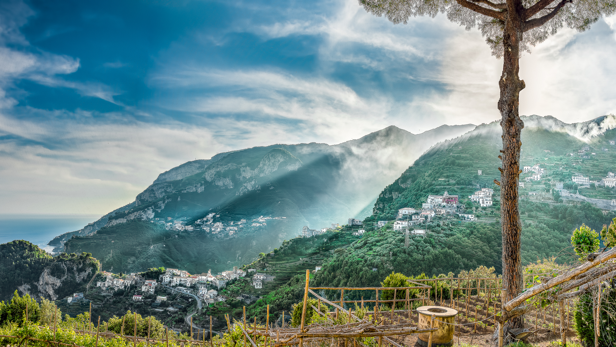 Looking to the west from Ravello, where the town of Amalfi sits at the terminus of the distant valley