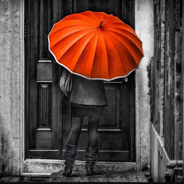 Here is a visitor with an orange umbrella, come to meet...just who in Venice has she come to see, do you think? See more photos ofVenice and Italy on my website. #italyouritaly #italy #venice #umbrella #orange #rainyday