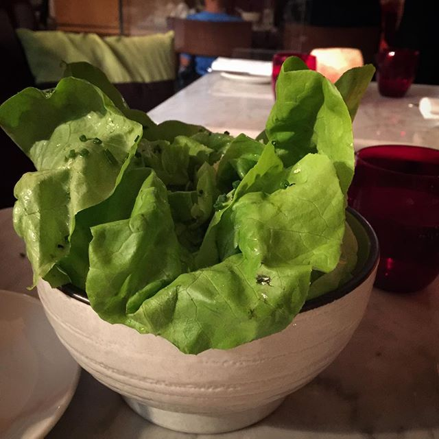 A great salad at Galvin In Windows in the London Hilton. Each leaf is soaked for eight hours in a lite dressing and then they are arranged back into a 'head' of lettuce #galvinonthewindows #lettuce #salad #london