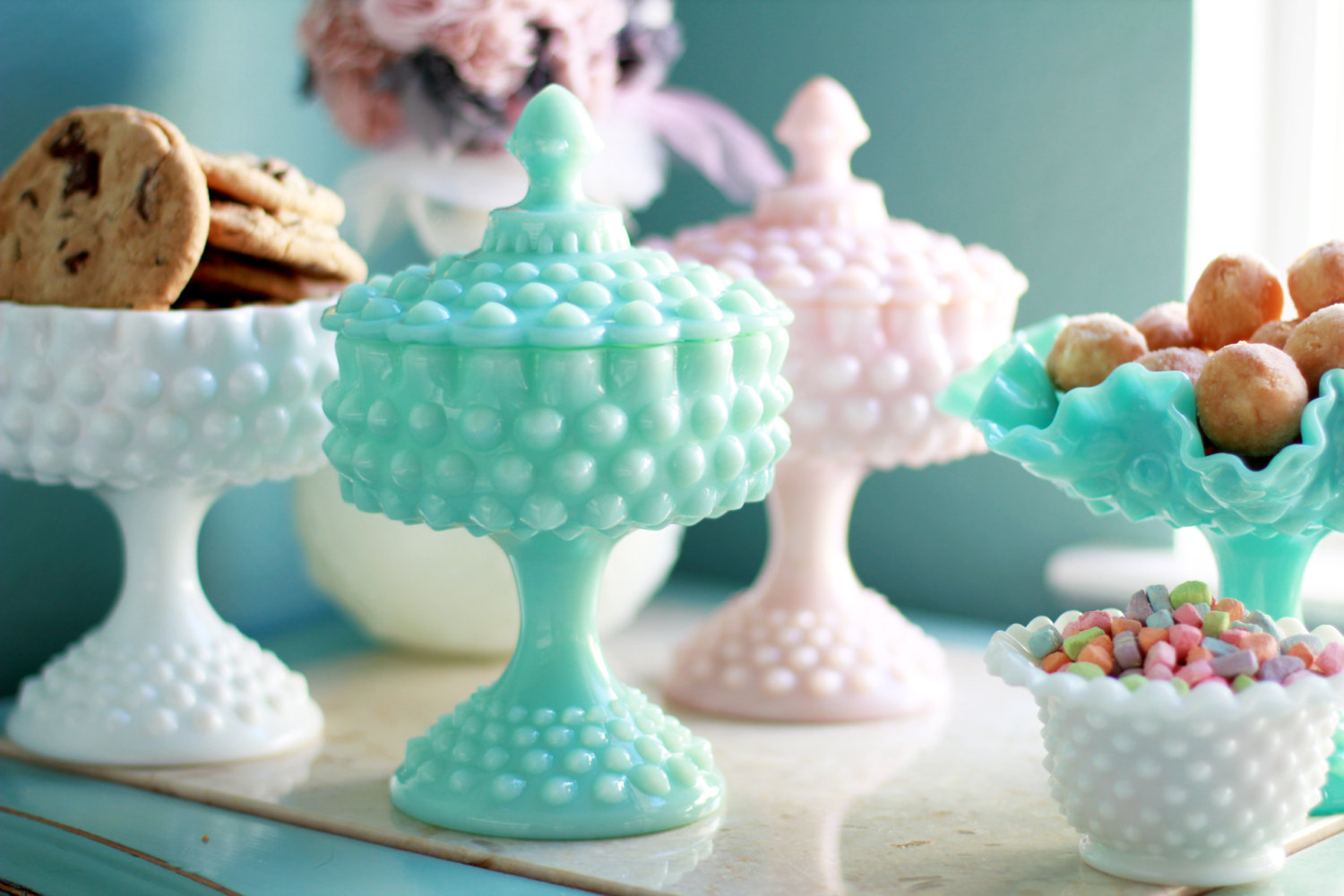 Vintage Turquoise Milk Glass Compote from  RocheStudioVintage