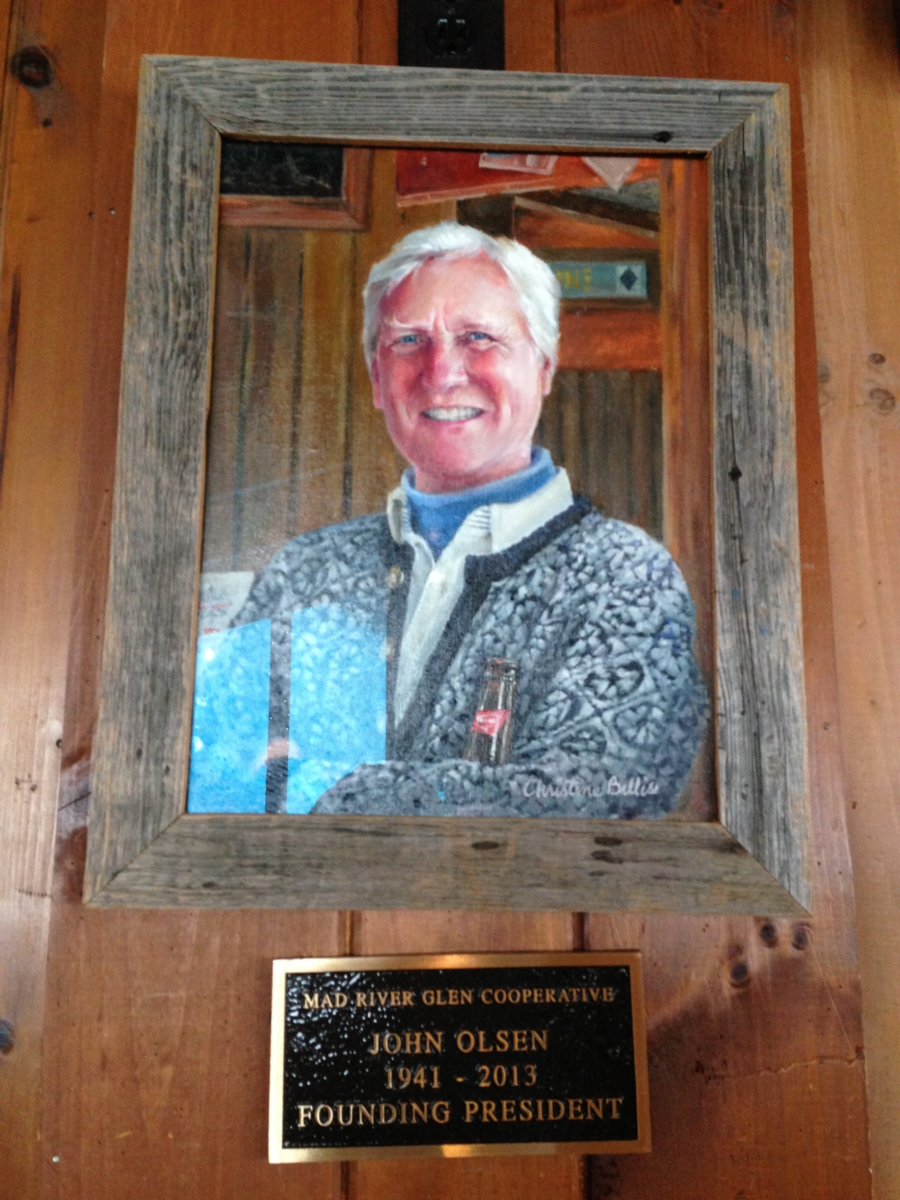 A Portrait of John Olsen, original owner and builder of what is now the Warren Falls Inn, hangs in the bar of Mad River Glen in honor of his contributions to founding the skier-owned mountain.