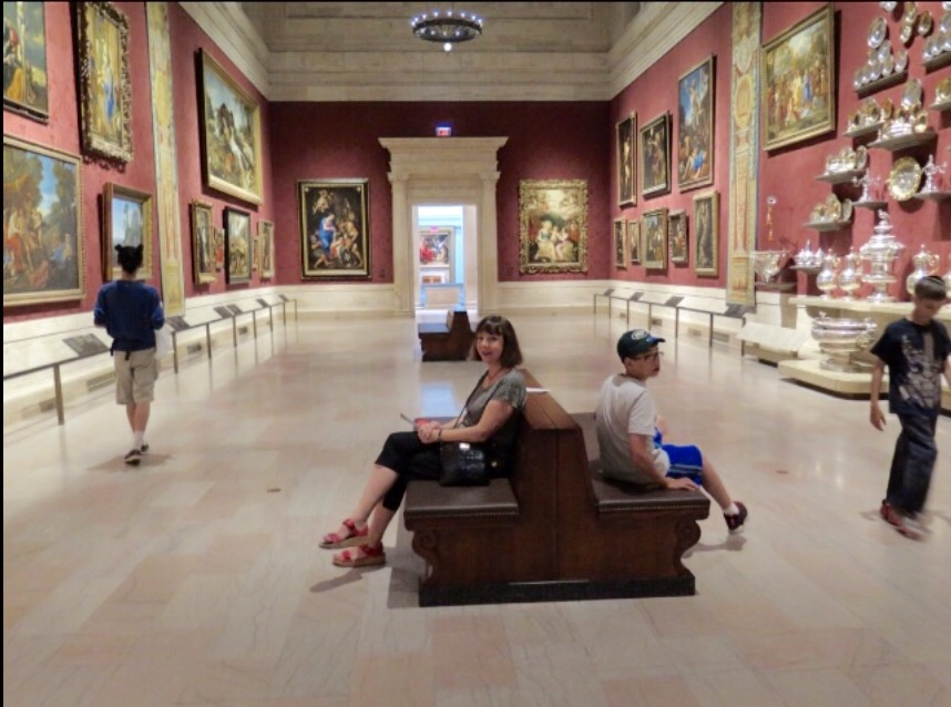 Mom waiting patiently for me at yet another art museum