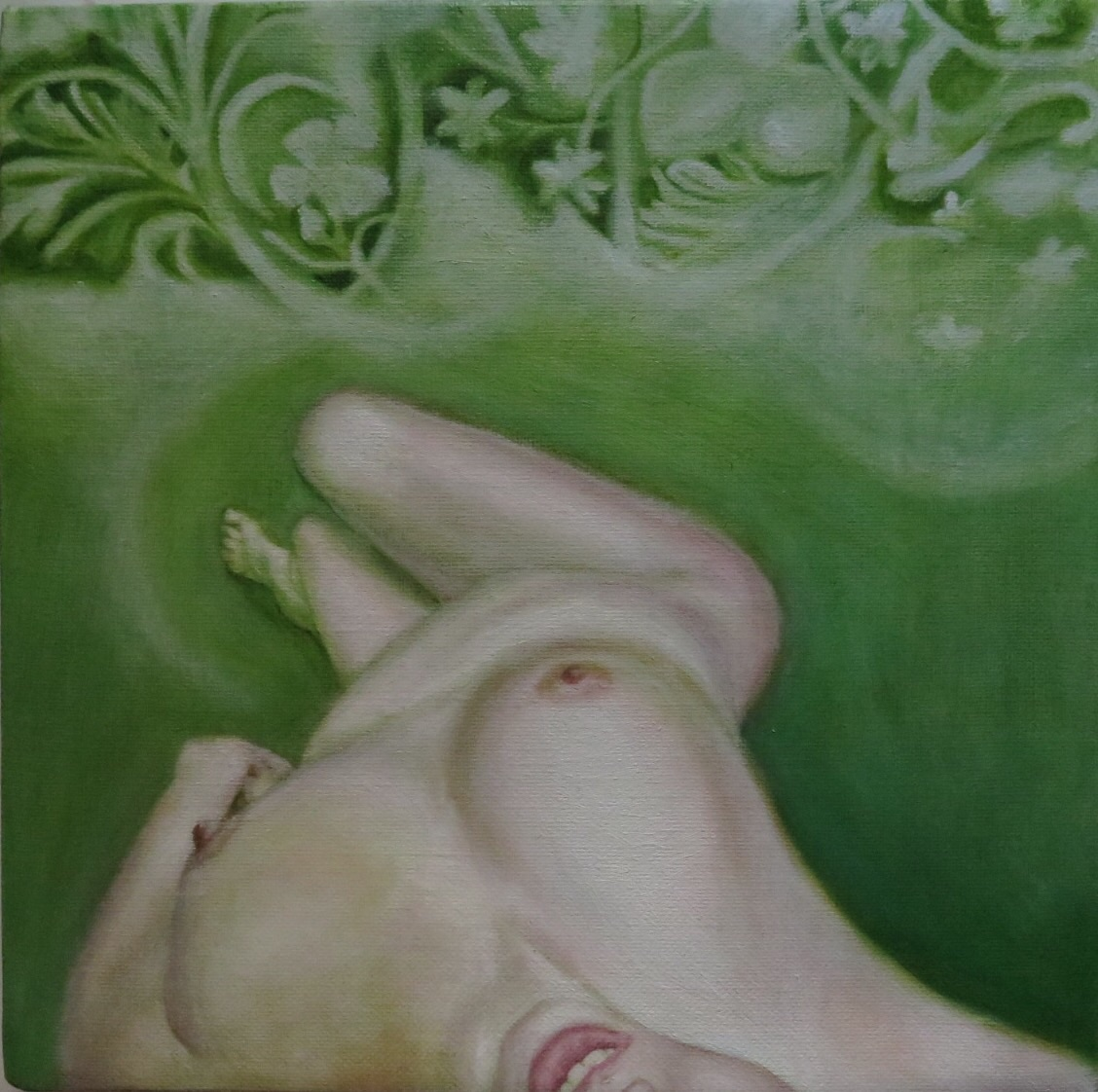 """Carrie Able  , Garden (2),  Oil on stretched linen, 10"""" x 10"""""""