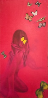 "Magenta (Butterflies) oil on stretched linen, 36"" x 18"""