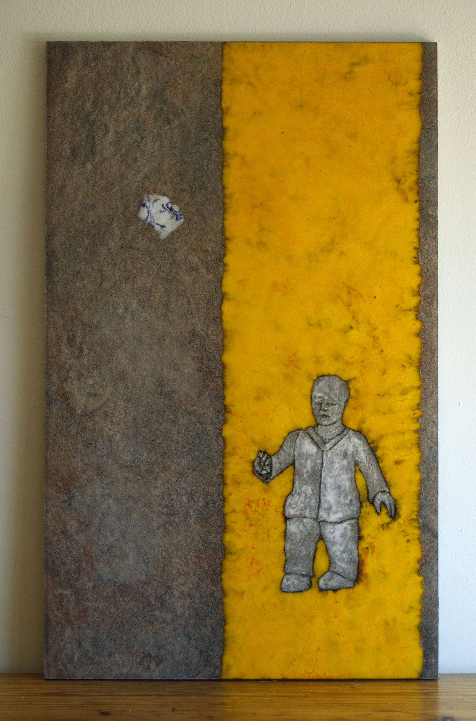 "Found Conversations with a Bird,  Ceramic tile, glazes,  21"" x 13"""