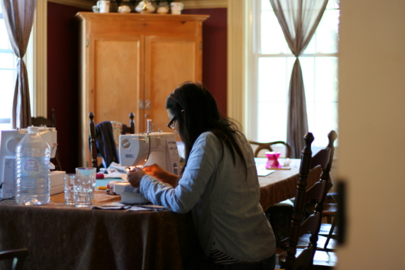 Quilting in the dining room