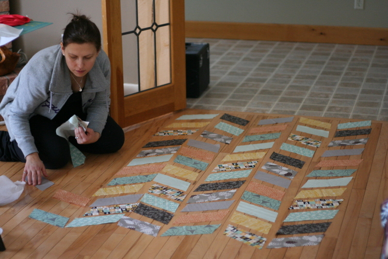 Chevron quilt in progress