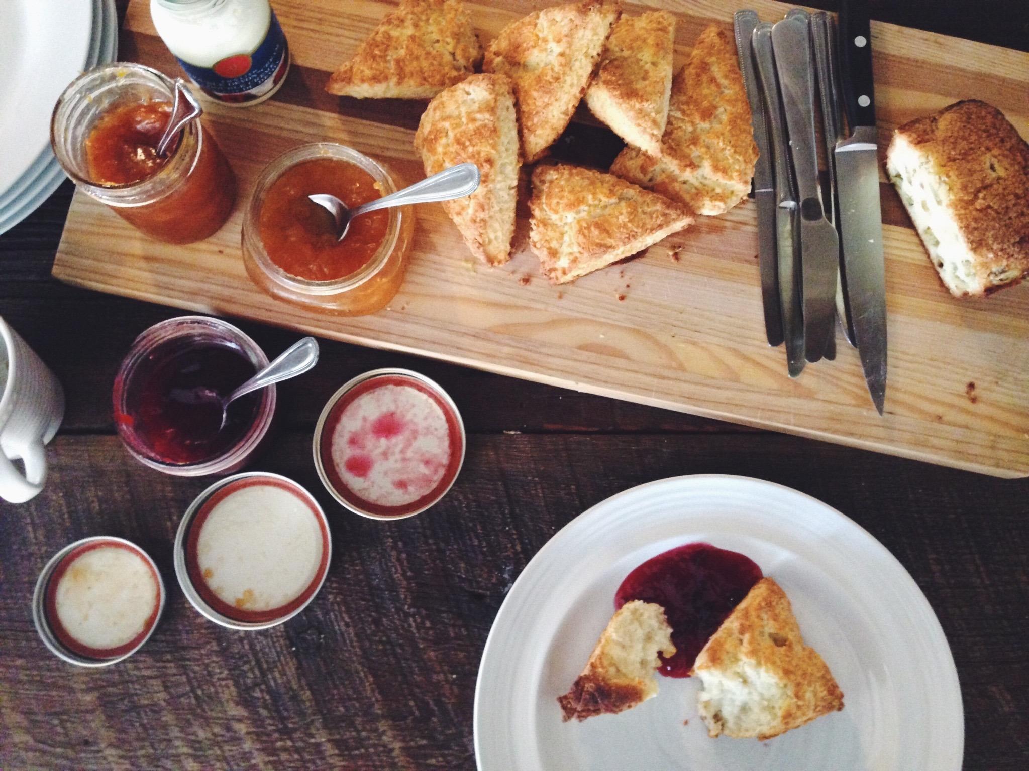 Fresh scones and homemade jams
