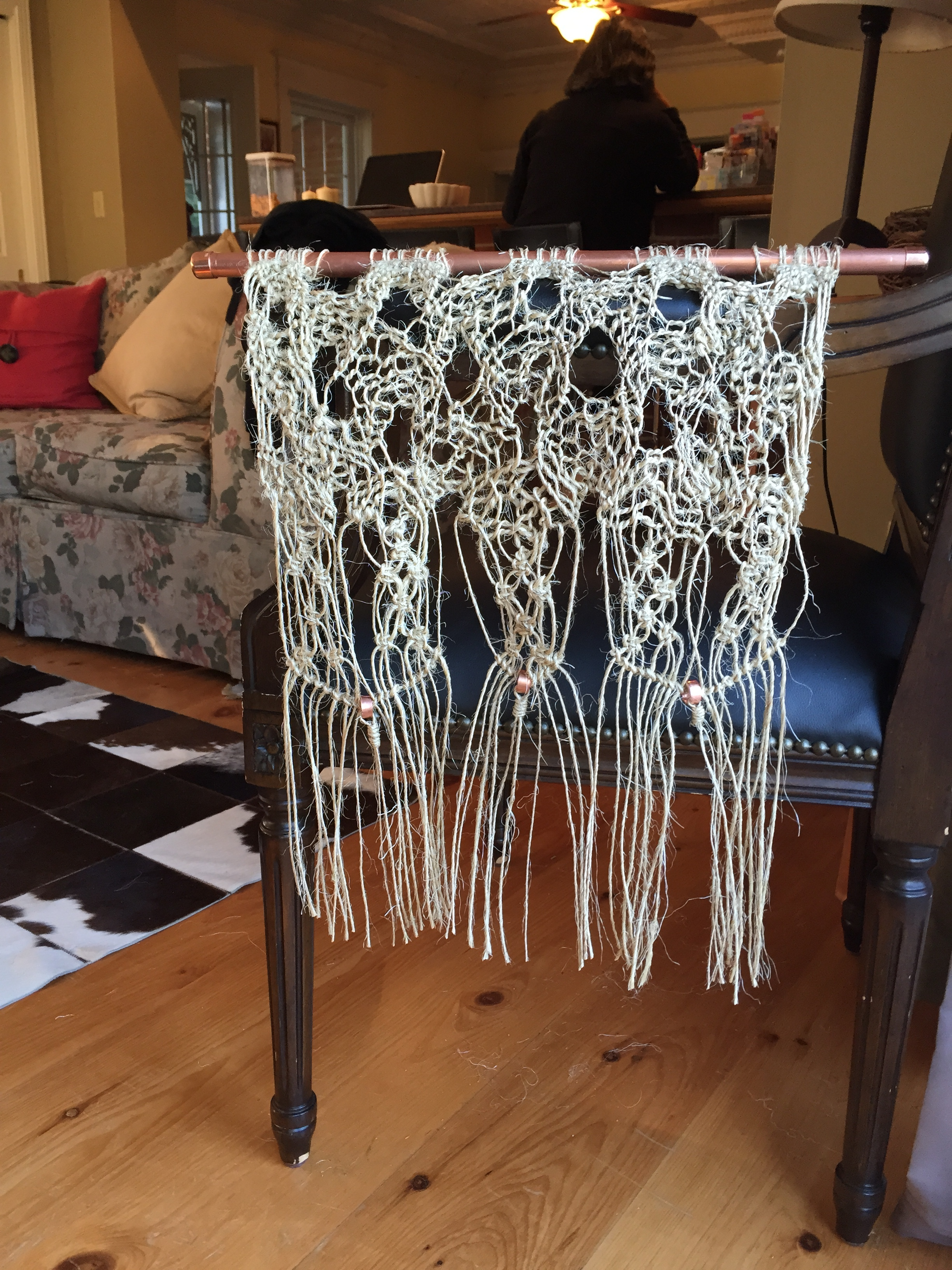 Completed macrame project