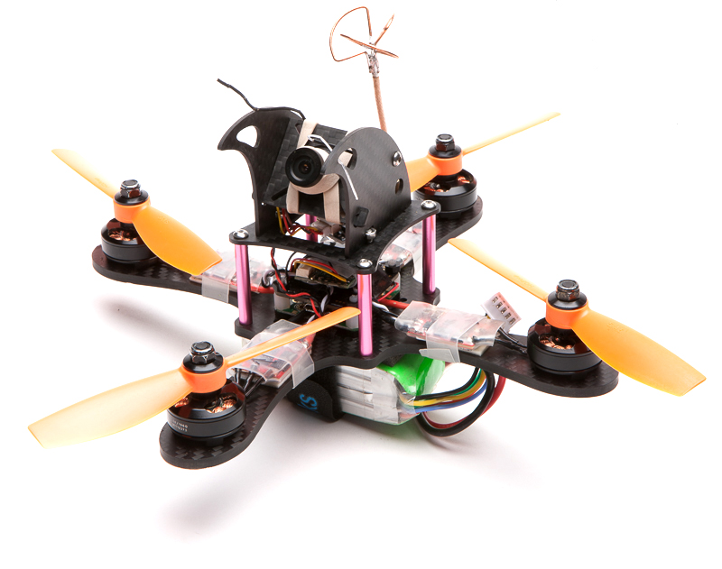 """The 5"""" build with the over large pod. I screwed up the horns here, they're visible in the goggles. It was actually kinda cool, like a stupid analog OSD."""