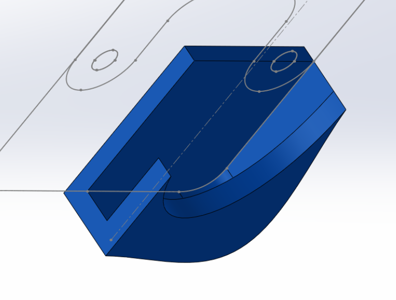 Three extrusions start the noseguard. The dxf of the frame serves as the template.