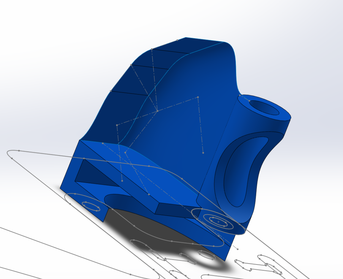 The cam mount is surfaced with extruded surfaces and a boundary surface (the part that curves around).
