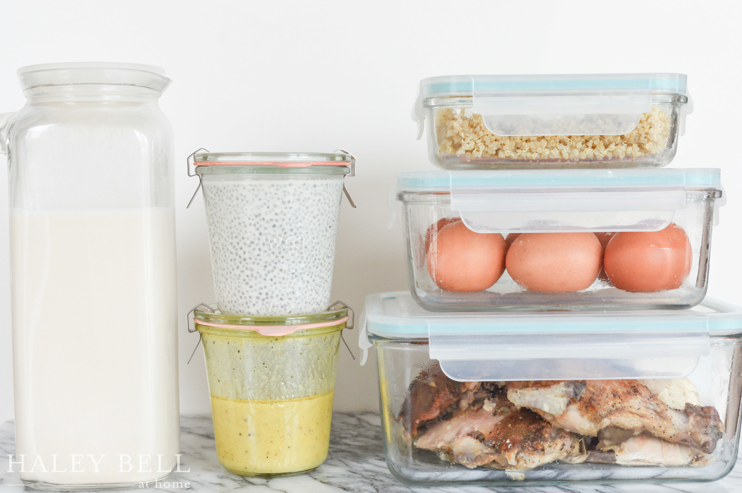 {Almond Milk, Chia Seed Pudding, Salad Dressing, Quinoa, Eggs and Poultry}